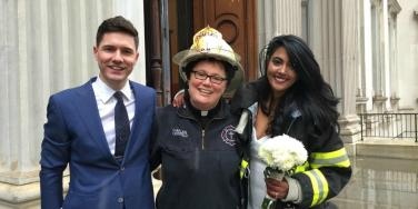 fdny chaplain saves wedding