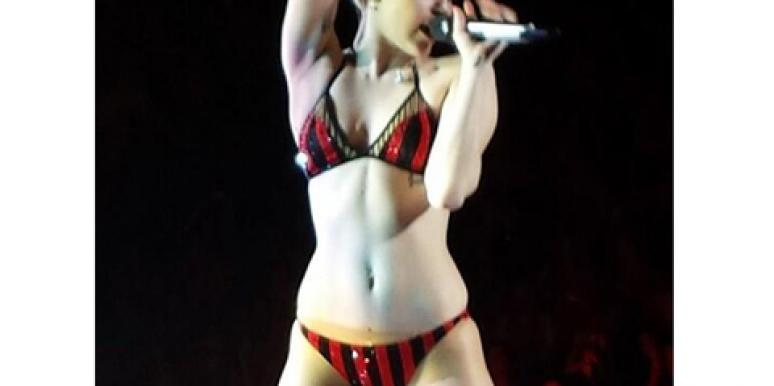 Miley Cyrus performs '23' in a bra and panties