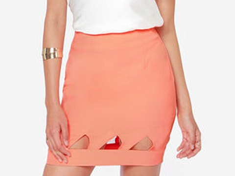 Lulu's Point Blank Cutout Coral Skirt