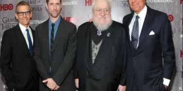 Michael Lombardo, Dan Weiss, George R.R. Martin and Richard Plepler