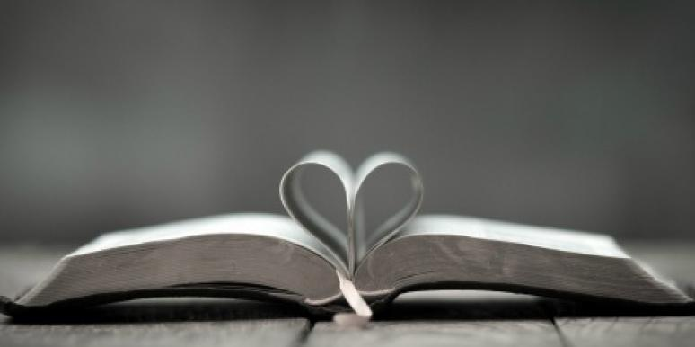 pages of book shaped like heart