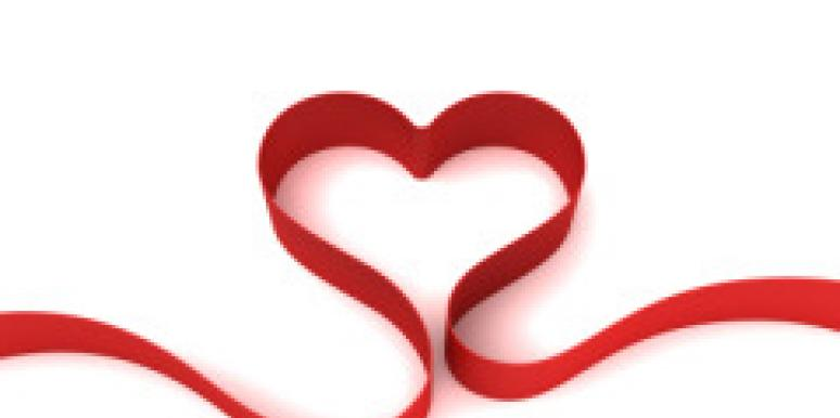 red ribbon heart shape