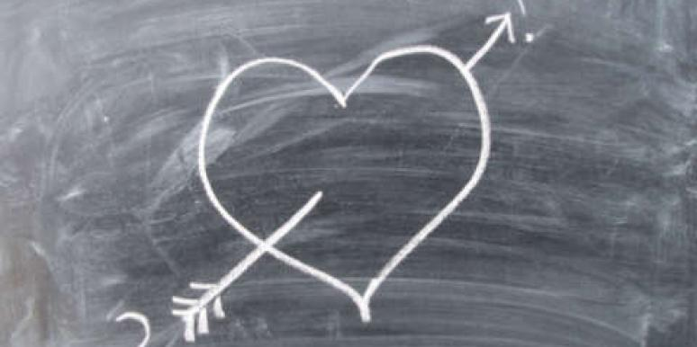 heart on a blackboard