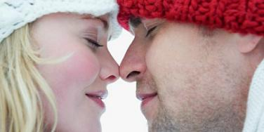 eskimo kiss couple rub noses