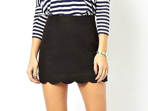 Asos Linen Skirt with Scallop Detail