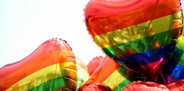 gay pride rainbow balloon hearts