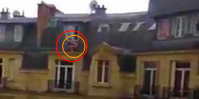 naked man hanging outside lover's window
