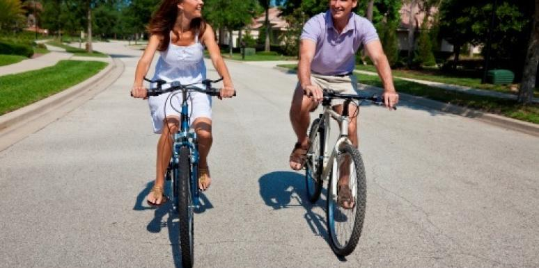 couple on a bike ride