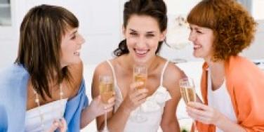 bridesmaids laughing friends