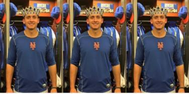 T.J. Rivera wearing 'player of the game' crown