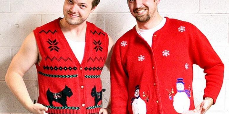 two guys wearing ugly sweaters