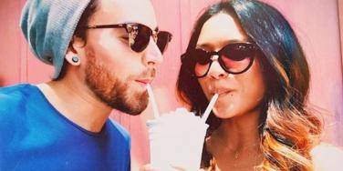 couple drinking a shake