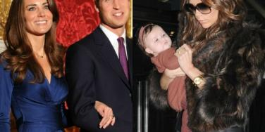 Prince William and Kate Middleton, and Harper Beckham
