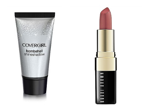 CoverGirl Bombshell ShineShadow in Plat Club and  Bobbi Brown Lip Color in Pink Mauve