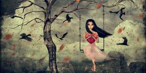 lonely girl surrounded by birds