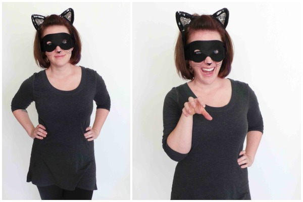 Accessories: Black Mask, Kitty Ears, And Black Eyeliner For Nose And Whiskers