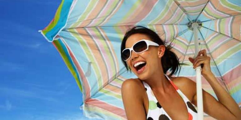 happy woman wearing swimsuit softcup
