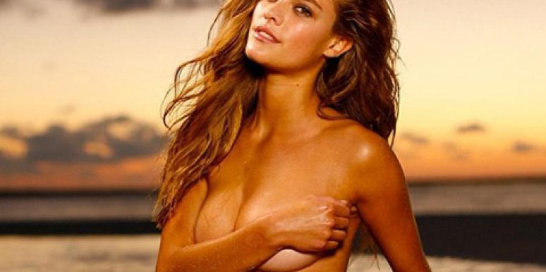 Nina Agdal posing topless in a sexy Instagram photo