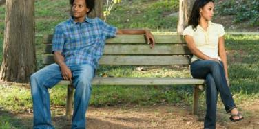 mad couple on bench