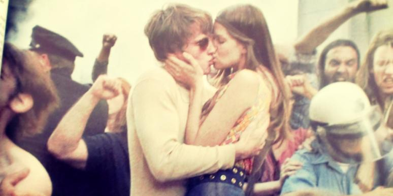 vintage couple kiss