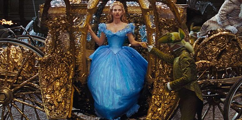 Lily James stepping out of the magic stagecoach in the Disney Cinderella movie trailer live action