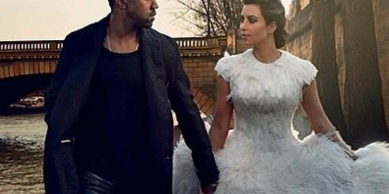 Kanye West and Kim Kardashian modeling wedding looks in Vogue