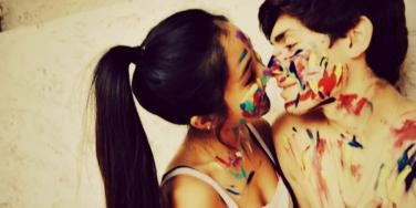 couple covered in paint
