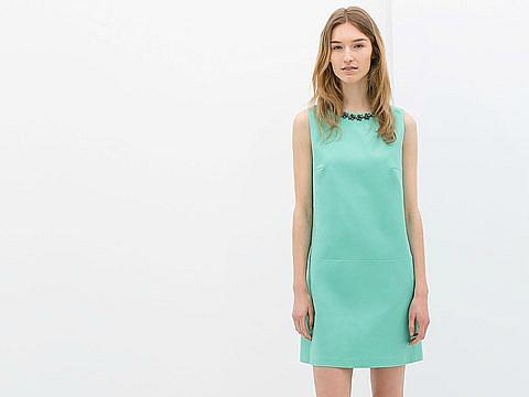 Zara Dress with Embellished Neckline