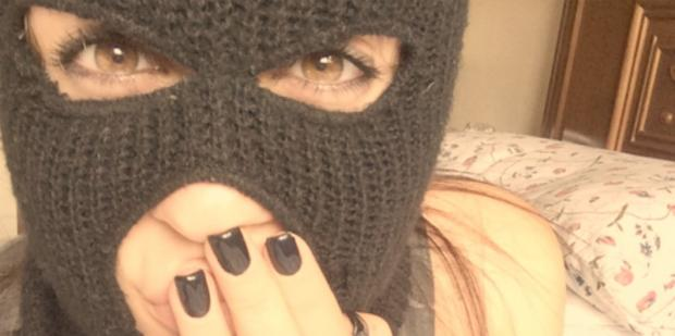 girl in a ski mask