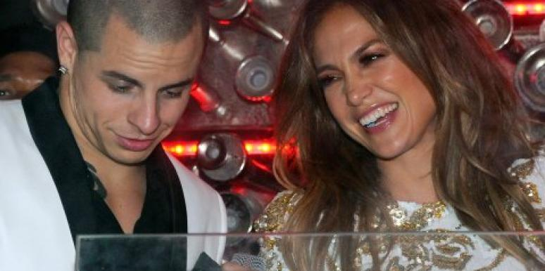 Jennifer Lopez and Casper Smart laughing