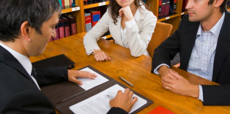 couple at lawyer's desk
