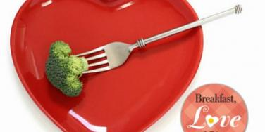 heart-shaped plate with brocolli