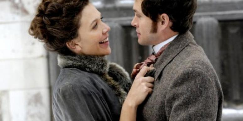 "Maggie Gyllenhaal and Hugh Dancy in ""Hysteria."""