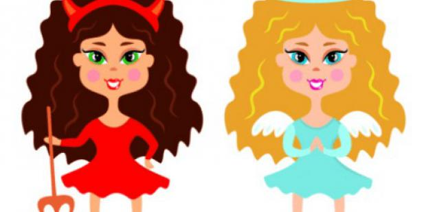 angel devil conscience girls cartoon