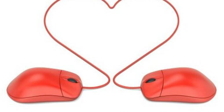 red computer mouse heart