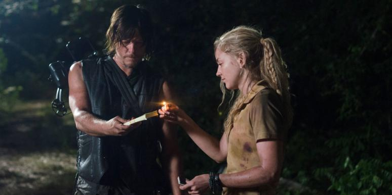 Daryl Dixon (Norman Reedus) with Beth Greene (Emily Kinney) on 'The Walking Dead' AMC