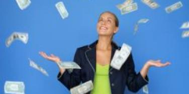 woman with money in the air