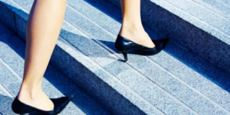 3 steps three heels black stilettos pumps woman legs climb stairs