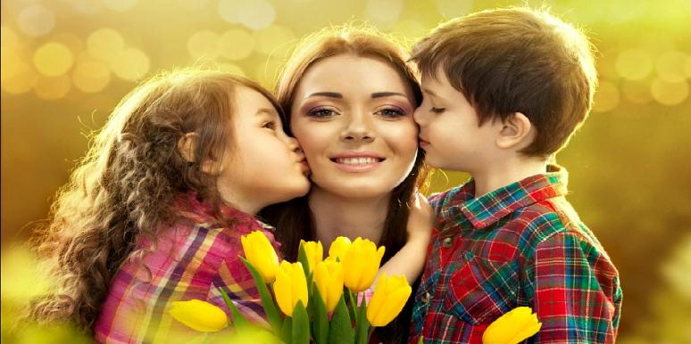 mother with kids and flowers