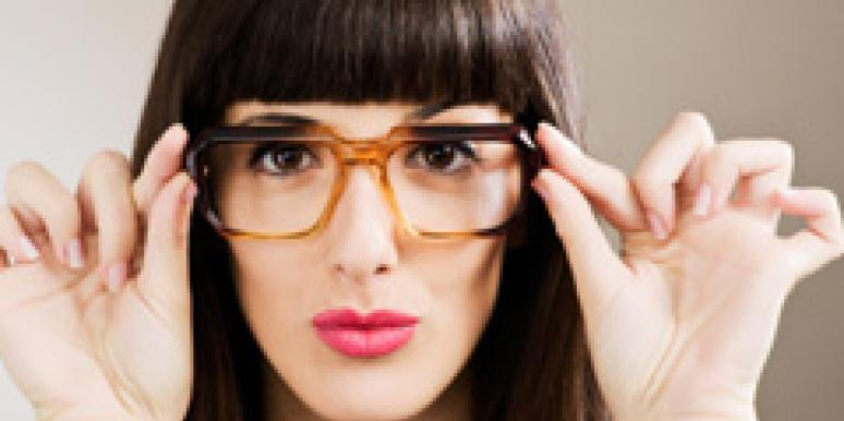 woman with thick glasses