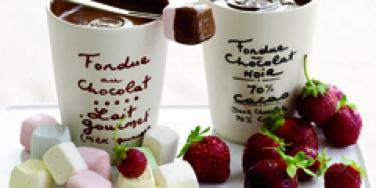 chocolate fondue with strawberries and marshmallows