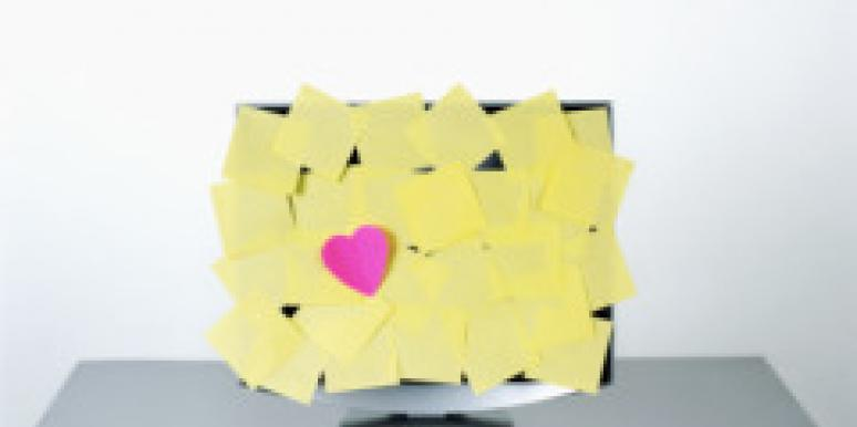 post-its on computer with heart