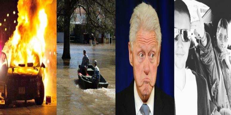 bill clinton, justin bieber, louisiana floods, milwaukee riots